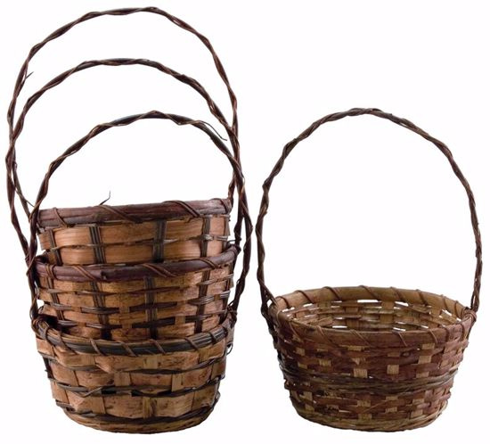 """Picture of 8"""" Round Bamboo & Fern Baskets w/Handle - 4 Assorted"""
