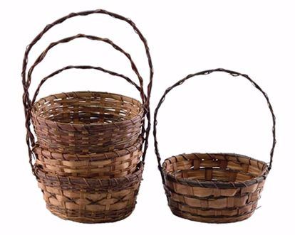 "Picture of 10"" Round Bamboo and Fern Baskets w/Handle - 4 Assorted"