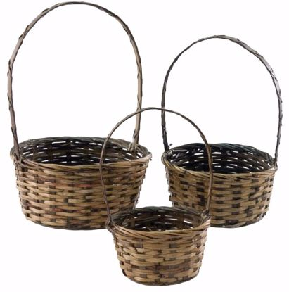 Picture of Round Rattan Basket Set (3 Sizes) with Handle-Stained Weave