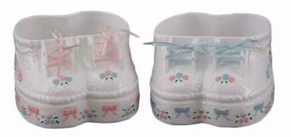 Picture of 2 Asst Diamond Line Hand Painted Baby Bootie