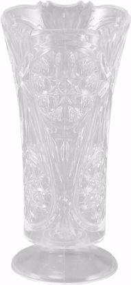 "Picture of Diamond Line 10"" Pedestal Rose Vase - Crystal Clear"