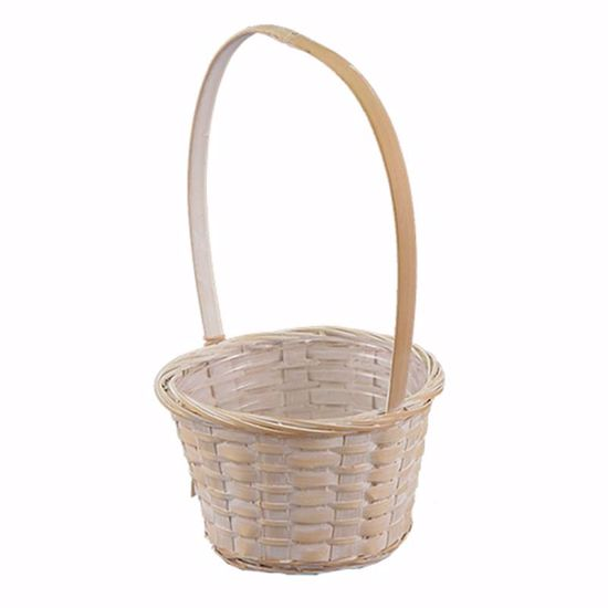 """Picture of 6"""" Whitewashed Round Basket w/Handle"""