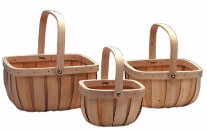 Picture of Birch Bark Basket with Bale Handles (Set of 3)-Natural