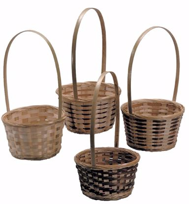 """Picture of 6"""" Bamboo Basket with Handle -Natural Weave"""