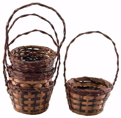 """Picture of 6"""" Round Bamboo & Fern Baskets w/Handle - 4 Assorted"""