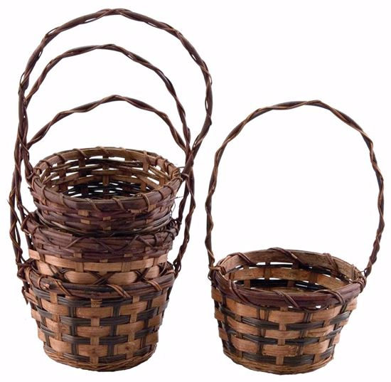 "Picture of 6"" Round Bamboo & Fern Baskets w/Handle - 4 Assorted"