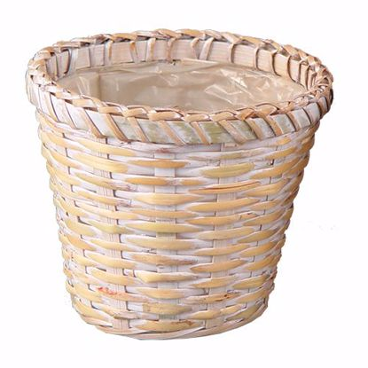 "Picture of 6"" Whitewashed Rattan Potcover"
