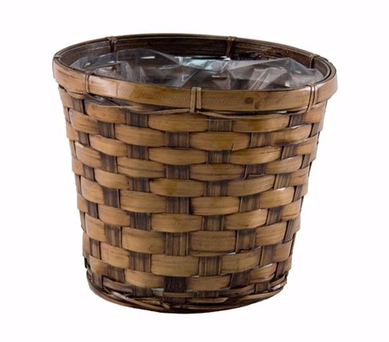 "Picture of 7"" Dark Stain Bamboo Pot Cover"