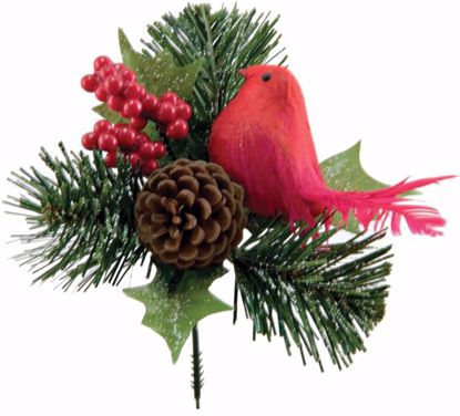 """Picture of Holiday Red Bird/ Berry/ Holly Pick (7.5"""")"""