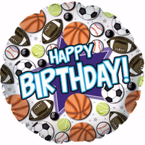 """Picture of 17"""" 2-Sided Foil Balloon: Happy Birthday Sports"""