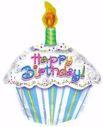"""Picture of 17"""" 2-Sided Foil Balloon: Happy Birthday Petite Cupcake"""