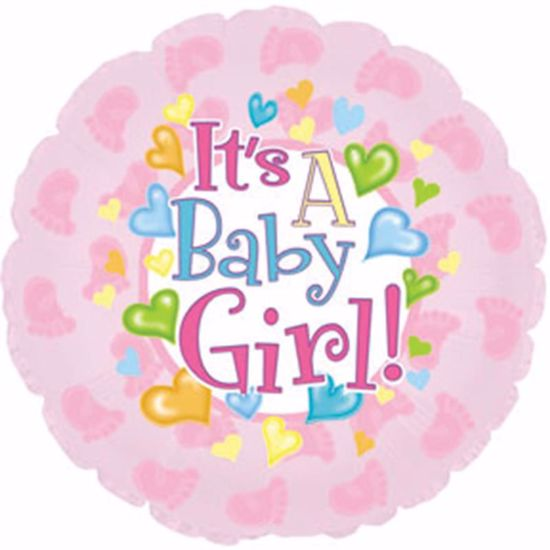 """Picture of 17"""" 2-Sided Foil Balloon: Baby Girl Footsies"""