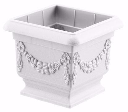 """Picture of Diamond Line Baroque Pedestal Planter 6""""-White"""