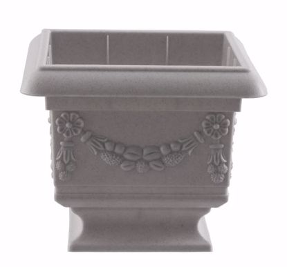 "Picture of Diamond Line Baroque Pedestal Planter 4""-Concrete"