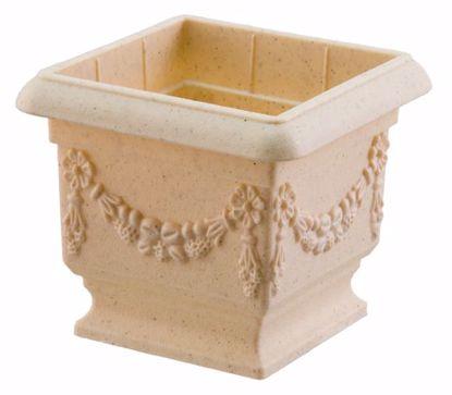 "Picture of Diamond Line Baroque Pedestal Planter 4""-Sandstone"