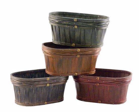 Picture of Oval Wood Planters - 4 Assorted