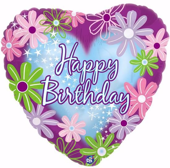 """Picture of 17"""" 2-Sided Foil Balloon: Happy Birthday Twinkle Stars"""
