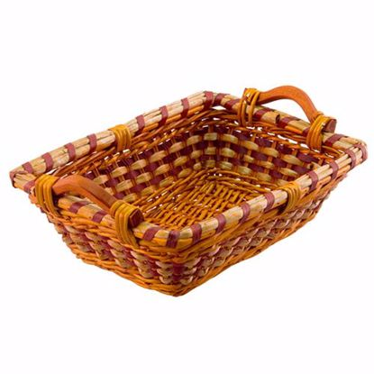 """Picture of 17"""" Rectangular Rope and Willow Basket with Wood Ear Handles"""