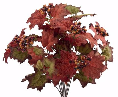 """Picture of Autumn Leaves Berry Maple Leaves Bush (12 Stems, 18"""")"""