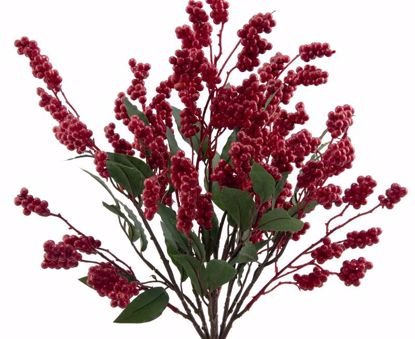 """Picture of Red Berry Cluster Bush with Leaves (19"""")"""