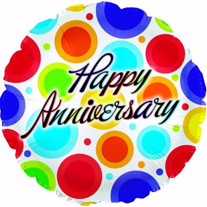 """Picture of 17"""" 2-Sided Foil Balloon: Anniversary Dancing Dots"""
