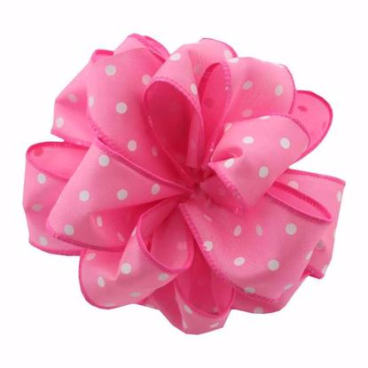 Picture of #9 Deluxe Wired Dots Ribbon - Hot Pink