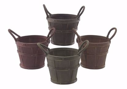 """Picture of 5"""" Split Wood Planters with Ear handle-4 Colors"""