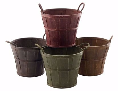 """Picture of 8.5"""" Split Wood  Planters with Ear handle -4 Colors"""
