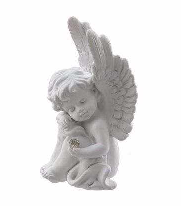 """Picture of 2 Asst 4.75"""" White Polyresin Angel Statue"""