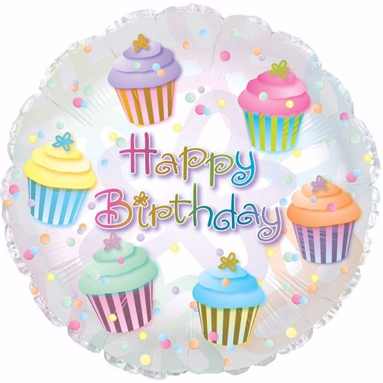 """Picture of 17"""" 2-Sided Foil Balloon: Happy Birthday Cupcake"""