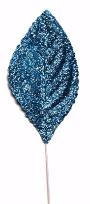 "Picture of 2.25""  Glitter Corsage Leaves - Blue"