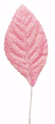 """Picture of 2.25"""" Glitter Corsage Leaves - Pink"""