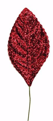 "Picture of 2.25""  Glitter Corsage Leaves - Red"