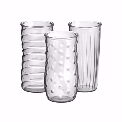 """Picture of Syndicate Sales 8.5"""" Glass Rose Vase - Clear (3 Assorted Styles)"""