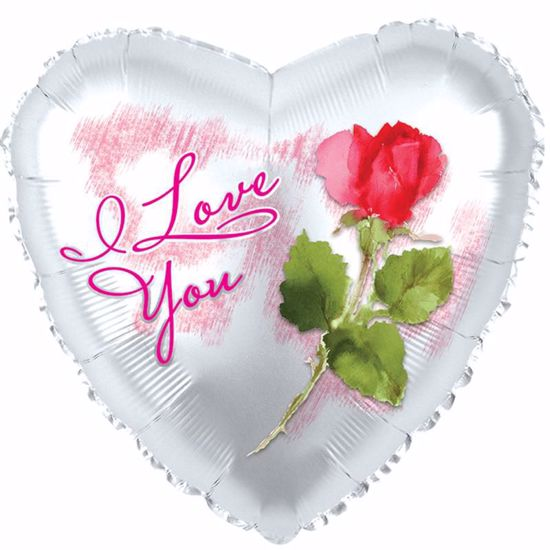 """Picture of 17"""" 2-Sided Foil Balloon: ILU Rose"""