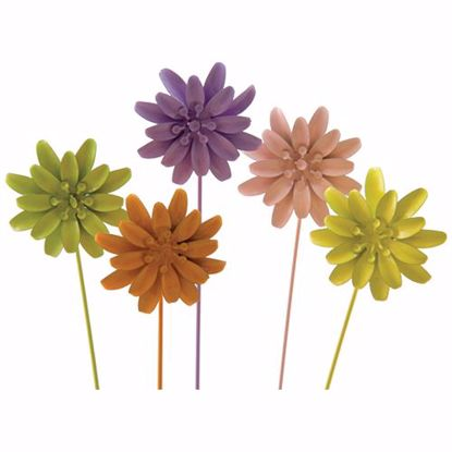 """Picture of 12.5"""" Metal Flower Picks (6 Assorted)"""