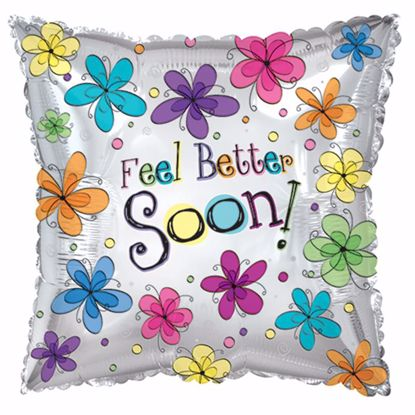 "Picture of 17"" 2-Sided Foil Balloon: Feel Better Soon Floral"