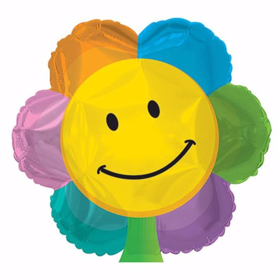 "Picture of 17"" 2-Sided Foil Balloon: Smiley Face Flower Shape"