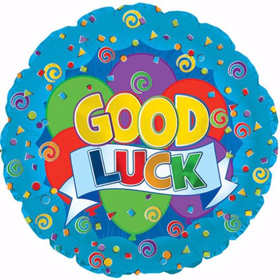 """Picture of 17"""" 2-Sided Foil Balloon: Good Luck Graphic Banner"""