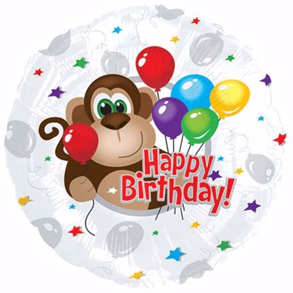 """Picture of 17"""" 2-Sided Foil Balloon: Monkey Around Birthday"""