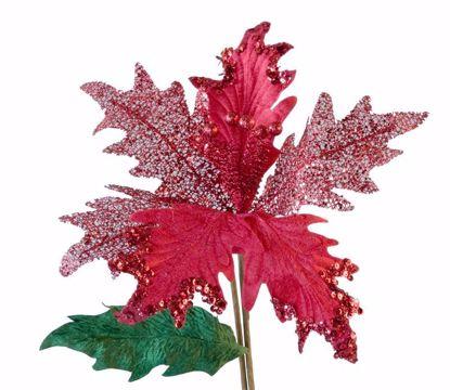 "Picture of Red Glitter Poinsettia Stem (26"")"