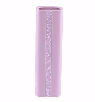 "Picture of 12.5"" Pink Ceramic Vase w/Pearl & Rhinestone Decor"