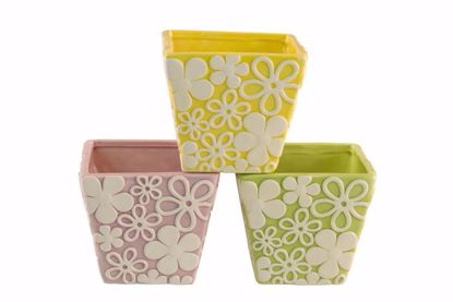Picture of 3 Assorted Square Ceramic Planter