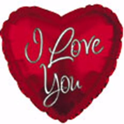 "Picture of 17"" 2-Sided Foil Balloon: I Love You Inspired Script"