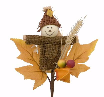 """Picture of Fall Theme 9"""" Scarecrow Lantern Berry Leaves Pick"""