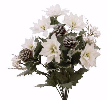 "Picture of White Glitter Poinsettia Bush (18.5"", 12 Stems)"