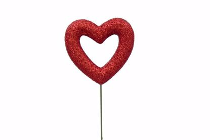 """Picture of 15"""" Red Glitter Open Heart Pick"""