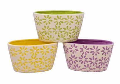 Picture of Oval Petal Burst Dolomite Planters - 3 Assorted