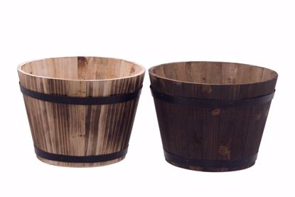 Picture of 2 Asst Wooden Whiskey Barrel Planters