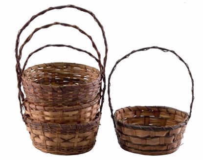"Picture of 12"" Round Bamboo and Fern Baskets with Handle - 4 Assorted"